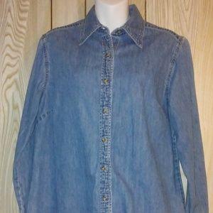 Eddie Bauer Girl's Fitted Button-Up Denim Shirt